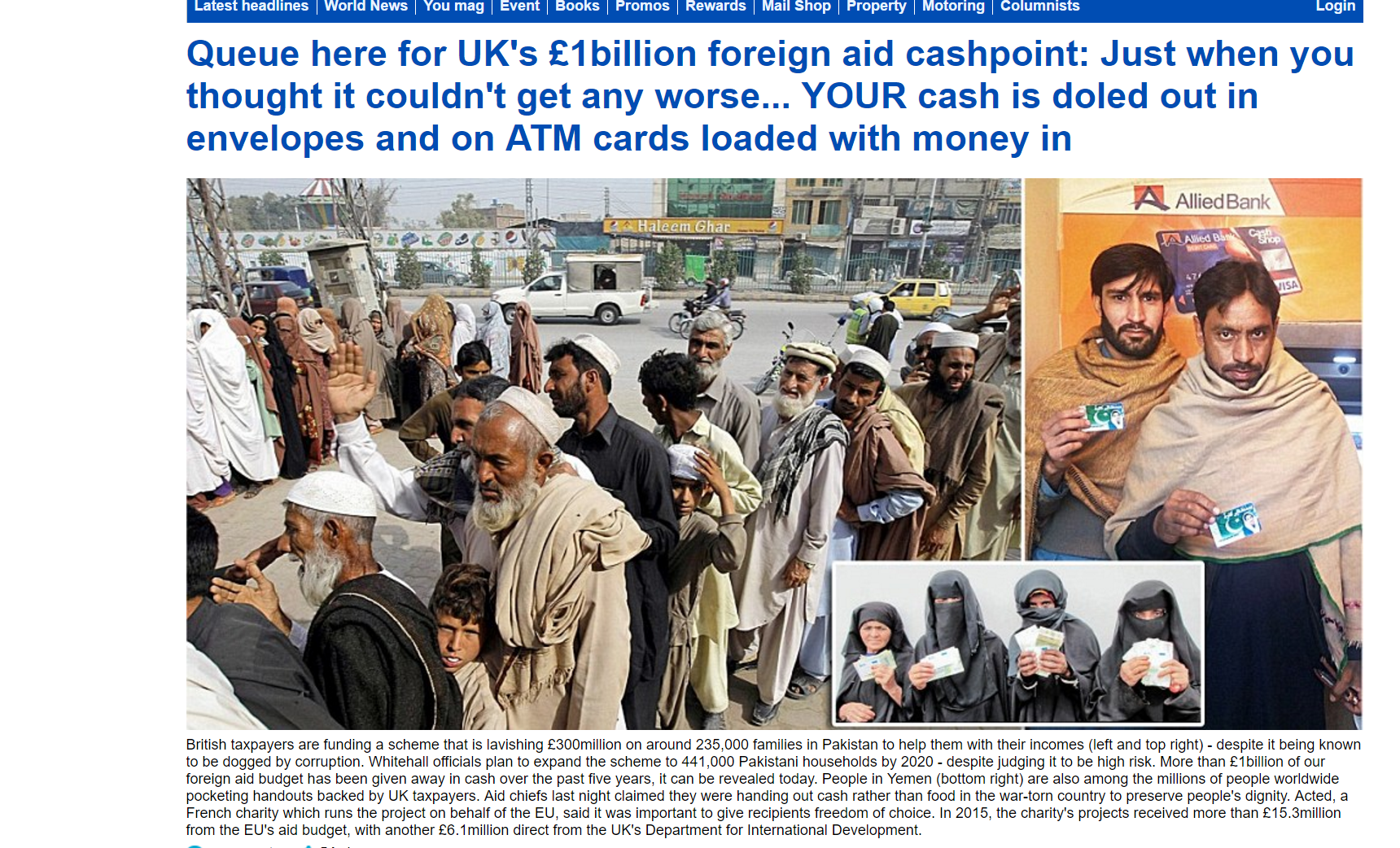 news article queue foreign cashpoint just thought couldn worse cash doled envelopes cards loaded mon