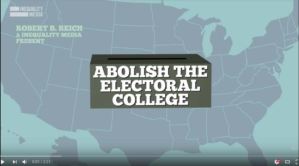 the electoral college should be abolished because it promotes political inequality By overwhelming majorities, americans would prefer to elect the president by direct popular vote, not filtered through the antiquated mechanism of the electoral college they understand, on a gut level, the basic fairness of awarding the nation's highest office on the same basis as every other elected office — to the.